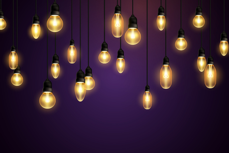 Ilustración de Retro bulbs hanging on violet background - Imagen libre de derechos