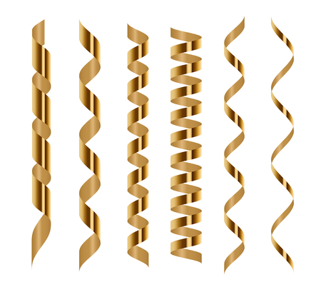 Ilustración de Spiral golden serpentine set isolated on white background. Vector illustration. Gold ribbons for holiday design - Imagen libre de derechos