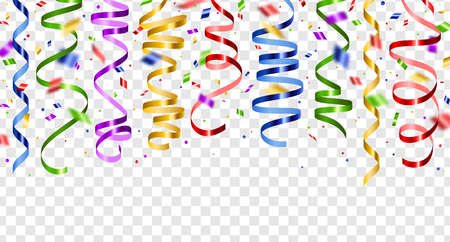 Ilustración de Colorful serpentine and confetti isolated on transparent background. Vector illustration. Shiny ribbons set for holiday design - Imagen libre de derechos