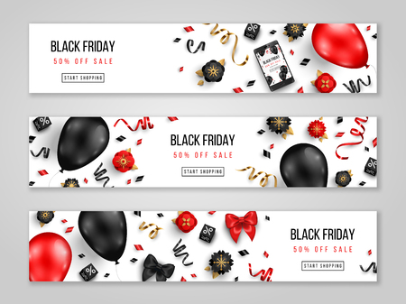 Illustration pour Black Friday sale horizontal banners with 3d balloons, confetti and flowers on white background. Vector illustration. Place for text. - image libre de droit