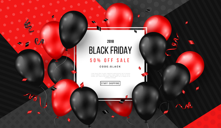 Ilustración de Black Friday Sale Poster with Shiny Balloons and Confetti on Modern Geometric Background with Square Frame. Vector illustration. - Imagen libre de derechos