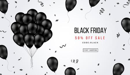 Ilustración de Black Friday Sale Banner with Shiny Balloons Bunch and Confetti on White Background. Vector illustration. - Imagen libre de derechos