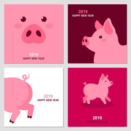 Ilustración de New year cards with pig - Imagen libre de derechos
