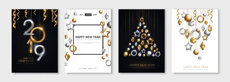 Ilustración de Christmas and New Year posters set with hanging gold and silver 3d baubles and 2019 numbers. Vector illustration. Winter holiday invitations with geometric decorations - Imagen libre de derechos