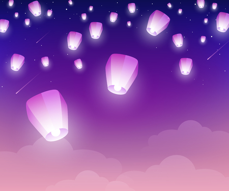 Ilustración de Lanterns floating at night in starry sky. Vector illustration. Traditional design elements for Chinese New Year or Mid Autumn Festival. - Imagen libre de derechos