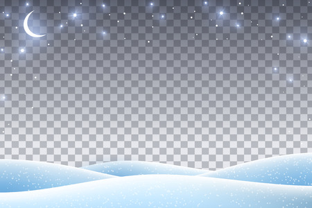Illustration for Winter landscape with empty transparent space for 2019 Happy New Year and Merry Christmas Design. Vector illustration. Night sky with stars and crescent, snow drifts. - Royalty Free Image
