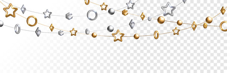 Ilustración de Abstract garland with gold and silver geometric baubles overlay effect on transparent background for Christmas and New Year design. Vector Illustration. - Imagen libre de derechos