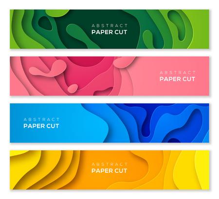 Ilustración de Set of horizontal banners in 3D paper cut style for business presentations, flyers, posters and invitations. Colorful carving art. Vector illustration. - Imagen libre de derechos