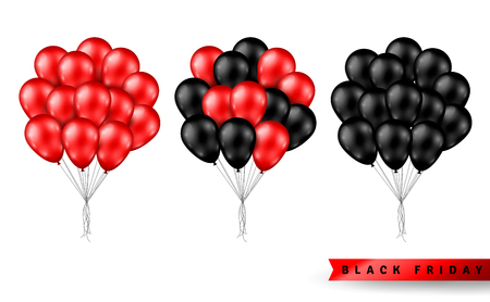 Illustration pour Shiny Balloons Bunch Set Isolated on White Background. Vector illustration. Elements for Black Friday Sale Poster - image libre de droit