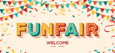 Illustrazione per Funfair banner with typography design. Vector illustration with retro light bulbs font, streamers, confetti and hanging bunting. - Immagini Royalty Free