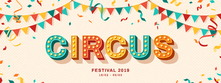 Illustration pour Circus retro typography design - image libre de droit