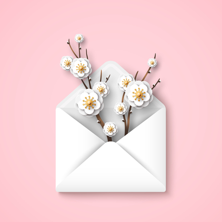 Illustration pour Envelope with blooming branches, white flowers on pink background. Vector illustration. Hello spring concept, top view. Happy Mothers Day gift. - image libre de droit