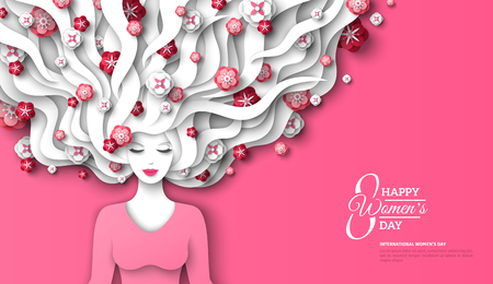 Illustration pour Fashion lady with paper cut long hair and flowers on pink background. Vector Illustration. 8 March, International Womens Day flyer template. - image libre de droit