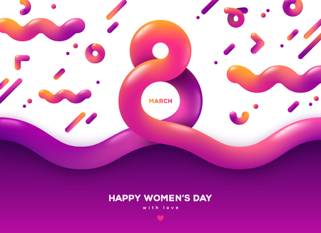 Photo pour March 8 abstract fluid forms. International Womens day background. Trendy liquid 3d figure eight for greeting card, flyer or brochure template. Vector illustration. Place for text - image libre de droit