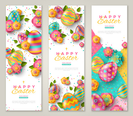 Illustration pour Easter vertical banners with colorful ornate eggs, spring flowers and confetti. Vector illustration. Place for your text - image libre de droit