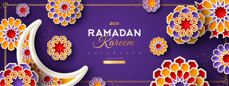 Illustration for Ramadan Kareem Violet Banner - Royalty Free Image