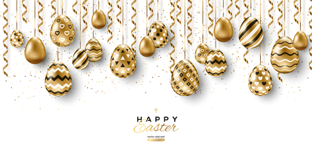 Illustration pour Long banner with border of Easter eggs and hanging gold streamers on white background. Vector illustration. Place for your text - image libre de droit
