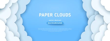 Ilustración de Beautiful fluffy clouds on blue sky background. Vector illustration. Paper cut style. Place for text - Imagen libre de derechos