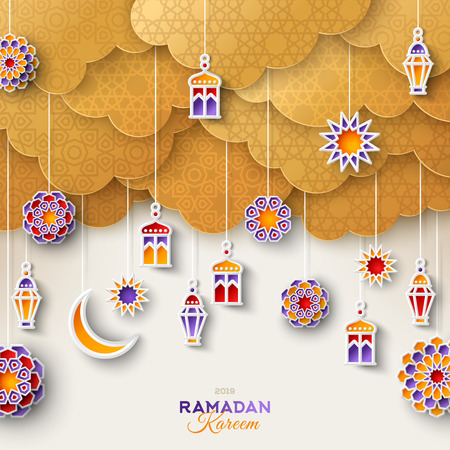 Illustration for Ramadan gold clouds and lanterns - Royalty Free Image