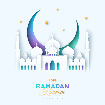 Illustration for Paper cut mosque and moon - Royalty Free Image