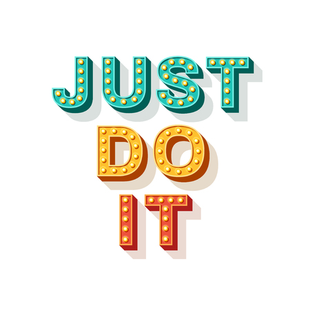 Illustration pour Just do it. Motivational poster design, retro font typography. Text lettering, inspirational saying about strength. Quote typographic template, vector illustration. - image libre de droit