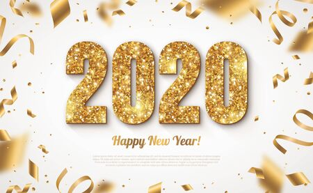Illustration pour Happy New Year Banner with Gold 2020 Numbers on Bright Background with Flying Confetti and Streamers. Vector illustration - image libre de droit