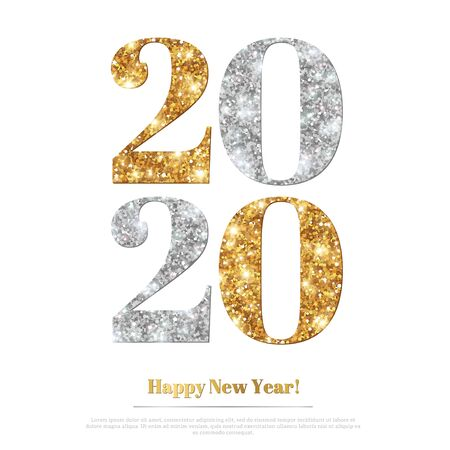 Illustration for 2020 glitter New Year - Royalty Free Image