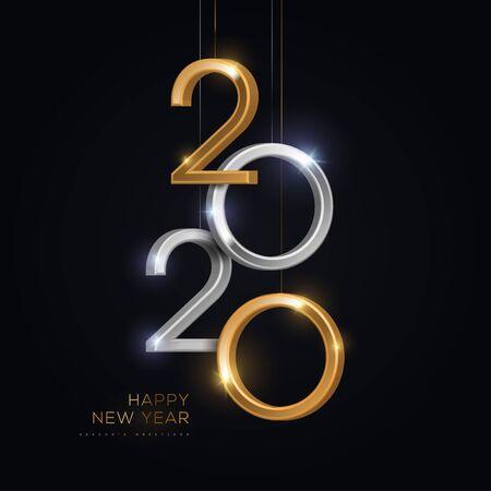 Ilustración de 2020 silver and gold numbers hanging on black background. Vector illustration. Minimal invitation design for Christmas and New Year. - Imagen libre de derechos