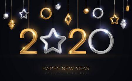 Illustration pour 2020 New Year baubles with star - image libre de droit