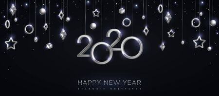 Illustration for 2020 silver numbers with stars and baubles hanging on black background. Vector illustration. Minimal invitation design for Christmas and New Year. Winter holiday decorations - Royalty Free Image