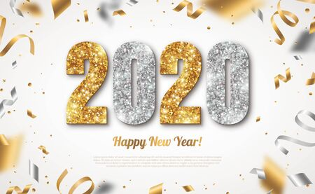 Illustration pour Happy New Year Banner with Gold and Silver 2020 Numbers on Bright Background with Flying Confetti and Streamers. Vector illustration - image libre de droit