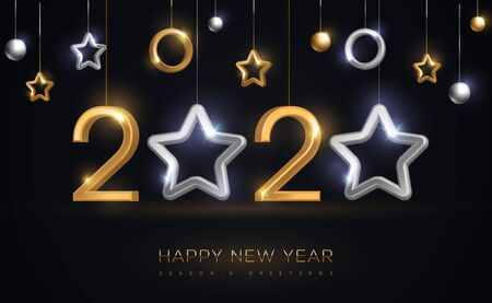 Illustration pour 2020 New Year baubles with star - image libre de droit