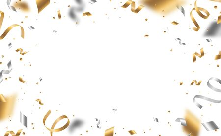 Illustration for Falling shiny golden and silver confetti and pieces of serpentine isolated on white background. Bright festive overlay effect with gold and gray tinsels. Vector illustration - Royalty Free Image