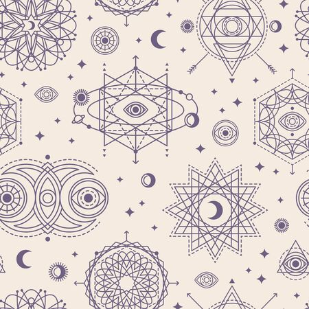 Illustration for Pattern with Sacred Geometry Forms - Royalty Free Image