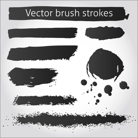 Illustration pour Set of back vector grunge ink strokes and blot - image libre de droit