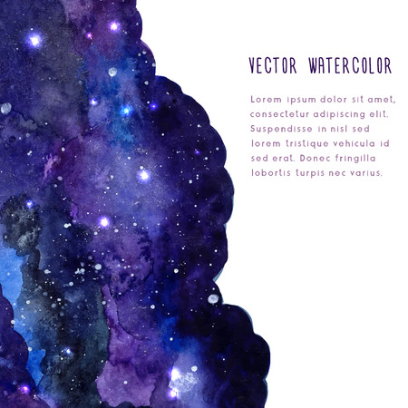 Illustration for Space vector background with watercolor texture. Leaflet layout with copy space. - Royalty Free Image