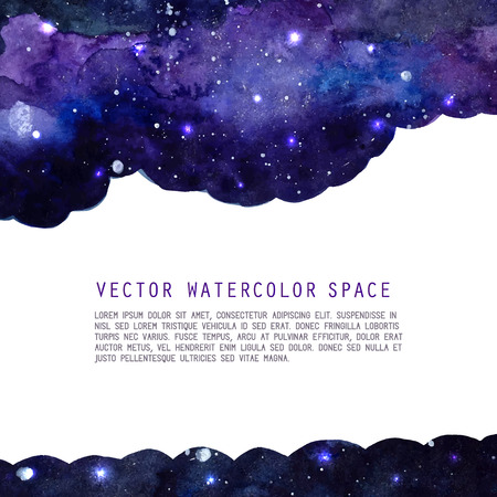 Ilustración de Space watercolor background with stars. Vector layout with copyspace. - Imagen libre de derechos