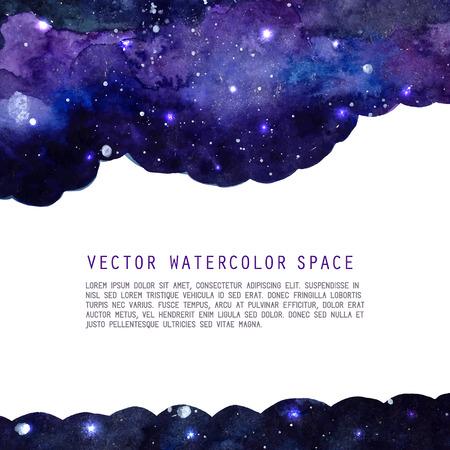 Illustration pour Space watercolor background with stars. Vector layout with copyspace. - image libre de droit