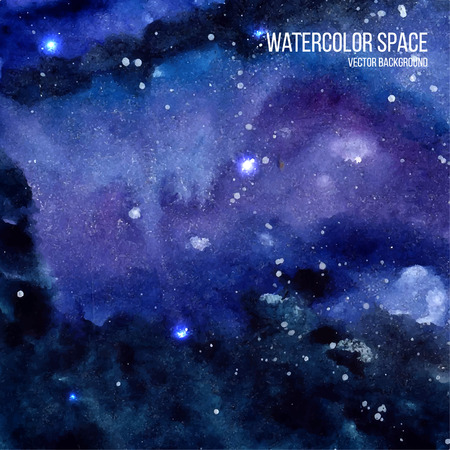 Illustration pour Watercolor space texture with glowing stars. Cosmic background with paint strokes and swashes. Vector illustration. - image libre de droit