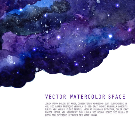 Ilustración de Watercolor night sky background with stars. Vector cosmic layout with space for text. - Imagen libre de derechos