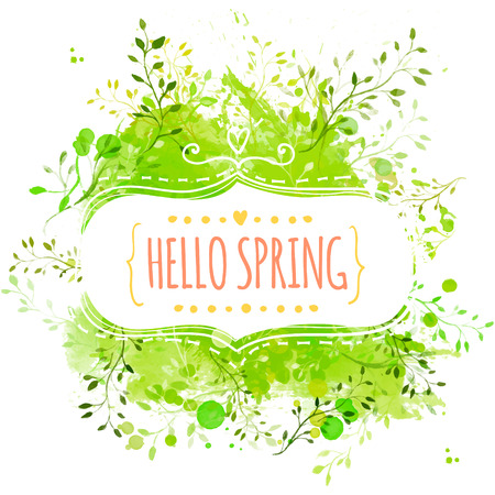 Illustration pour Decorative frame with text hello spring. Green paint splash background with leaves - image libre de droit