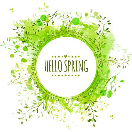Illustration pour Circle frame with text hello spring. Green paint splash background with leaves - image libre de droit