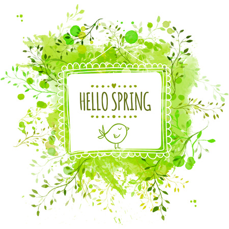 Illustration pour Square frame with doodle bird and text hello spring. Green watercolor splash background with leaves. Artistic vector design for banners, greeting cards, spring sales. - image libre de droit