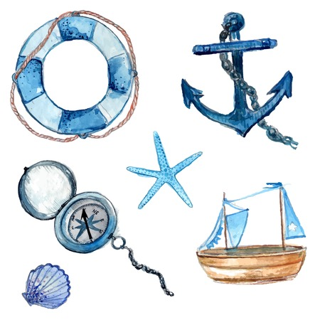 Illustration pour Nautical elements hand drawn in watercolor. Life buoy with rope, compass, anchor, wooden ship, star fish and shell. Art vector illustrations isolated on white background. - image libre de droit