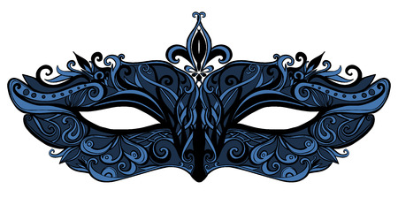Illustration for Fantasy mask with swirls and lace. Elegant and luxury fashion accessorie for masquerase.  Black and blue illustration isolated on white background. - Royalty Free Image