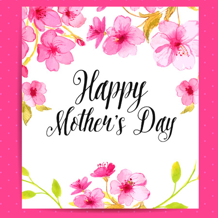 Illustration pour Happy Mothers Day card with cherry blossom. Vector layout with watercolor floral art. - image libre de droit