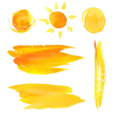 Illustration pour Set of paint brush strokes and splotches. Yellow vector watercolor backgrounds and sun. - image libre de droit