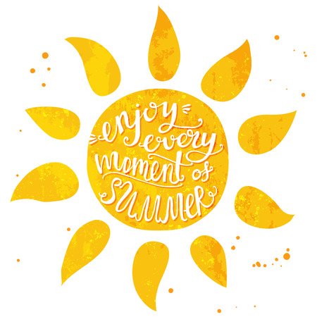 Illustrazione per Watercolor sun with hand lettering text enjoy every moment of summer. Vector illustration for cards, posters and travel advertisement. - Immagini Royalty Free