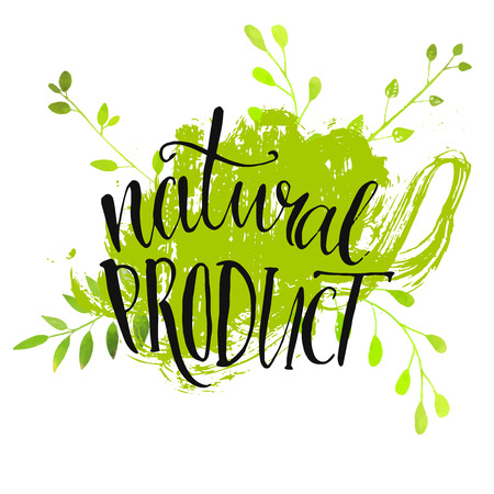 Illustration pour Natural product sticker - handwritten modern calligraphy on grunge green paint strokes. Eco friendly concept for stickers, banners, cards, advertisement.  - image libre de droit
