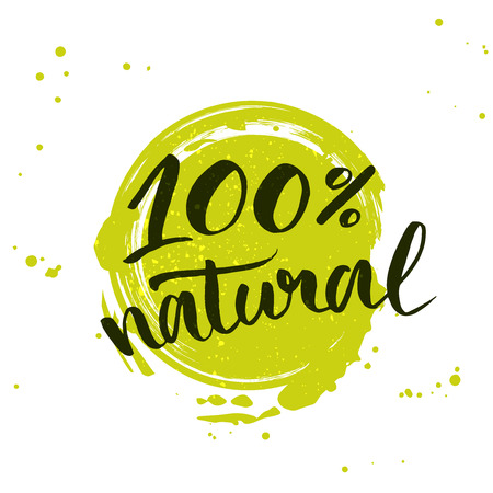 Illustration pour natural green lettering sticker with brushpen calligraphy. Eco friendly concept for stickers, banners, cards, advertisement. - image libre de droit